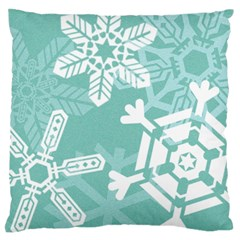 Snowflakes 3  Large Flano Cushion Cases (one Side)
