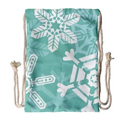 Snowflakes 3  Drawstring Bag (Large)