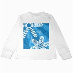 Snowflakes 1  Kids Long Sleeve T-Shirts