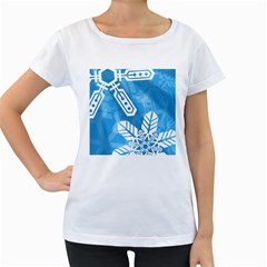 Snowflakes 1  Women s Loose-Fit T-Shirt (White)