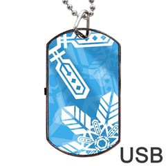 Snowflakes 1  Dog Tag USB Flash (Two Sides)