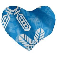Snowflakes 1  Large 19  Premium Flano Heart Shape Cushions
