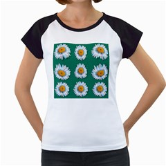 Daisy Pattern  Women s Cap Sleeve T
