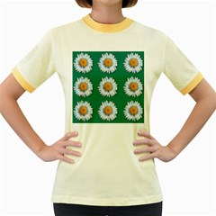 Daisy Pattern  Women s Fitted Ringer T-Shirts