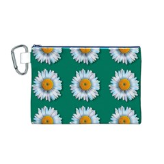 Daisy Pattern  Canvas Cosmetic Bag (M)