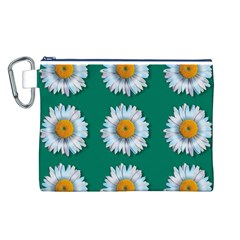 Daisy Pattern  Canvas Cosmetic Bag (L)