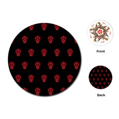 Skull Pattern Red Playing Cards (Round)