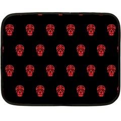 Skull Pattern Red Fleece Blanket (Mini)