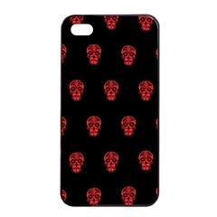 Skull Pattern Red Apple iPhone 4/4s Seamless Case (Black)
