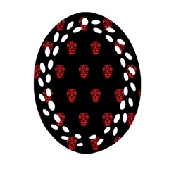 Skull Pattern Red Oval Filigree Ornament (2 Side)