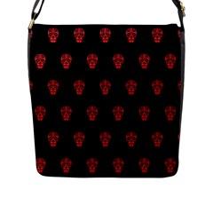 Skull Pattern Red Flap Messenger Bag (l)