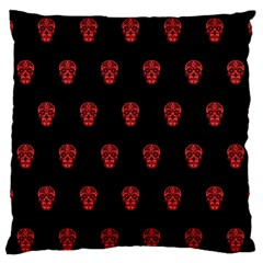 Skull Pattern Red Large Flano Cushion Cases (One Side)