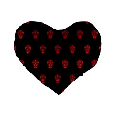 Skull Pattern Red Standard 16  Premium Flano Heart Shape Cushions