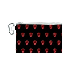 Skull Pattern Red Canvas Cosmetic Bag (S)