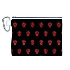 Skull Pattern Red Canvas Cosmetic Bag (L)