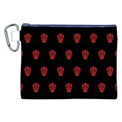 Skull Pattern Red Canvas Cosmetic Bag (XXL)