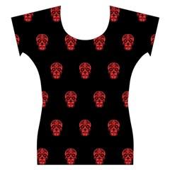 Skull Pattern Red Women s Cap Sleeve Top