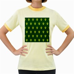Skull Pattern Green Women s Fitted Ringer T Shirts