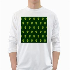 Skull Pattern Green White Long Sleeve T-Shirts