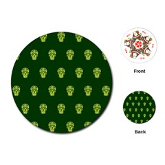 Skull Pattern Green Playing Cards (Round)