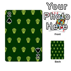 Skull Pattern Green Playing Cards 54 Designs