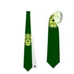 Skull Pattern Green Neckties (two Side)
