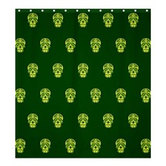 Skull Pattern Green Shower Curtain 66  X 72  (large)