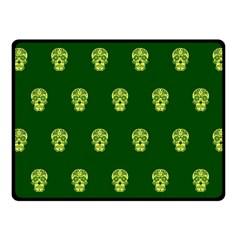 Skull Pattern Green Fleece Blanket (small)