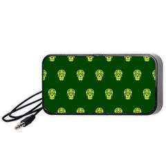 Skull Pattern Green Portable Speaker (black)