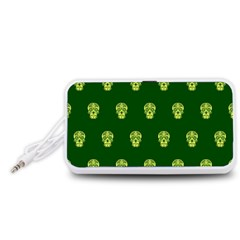 Skull Pattern Green Portable Speaker (White)