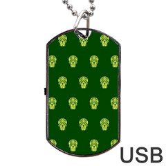 Skull Pattern Green Dog Tag Usb Flash (one Side)