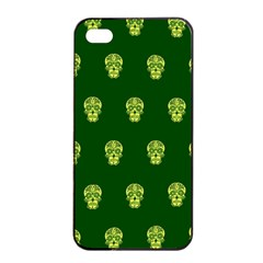 Skull Pattern Green Apple Iphone 4/4s Seamless Case (black)