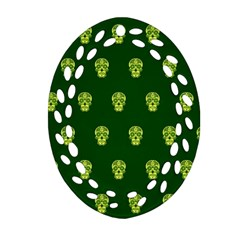 Skull Pattern Green Oval Filigree Ornament (2 Side)
