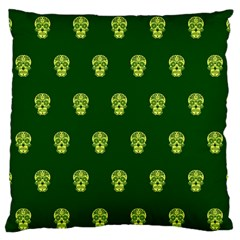 Skull Pattern Green Large Flano Cushion Cases (Two Sides)