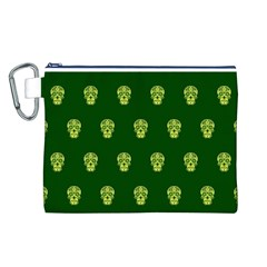 Skull Pattern Green Canvas Cosmetic Bag (L)