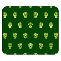 Skull Pattern Green Double Sided Flano Blanket (Small)