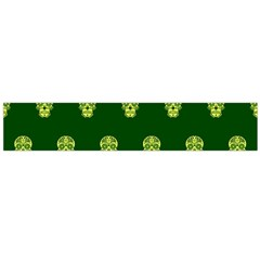 Skull Pattern Green Flano Scarf (Large)