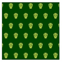 Skull Pattern Green Large Satin Scarf (Square)