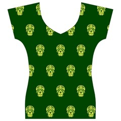 Skull Pattern Green Women s V-Neck Cap Sleeve Top