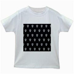 Skull Pattern Bw  Kids White T Shirts