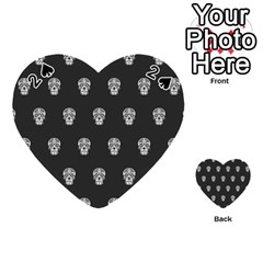 Skull Pattern Bw  Playing Cards 54 (Heart)