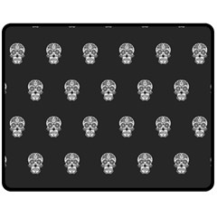 Skull Pattern Bw  Fleece Blanket (Medium)