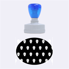 Skull Pattern Bw  Rubber Oval Stamps