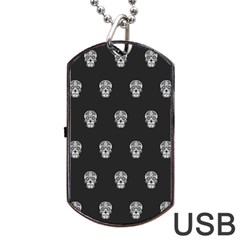 Skull Pattern Bw  Dog Tag USB Flash (One Side)