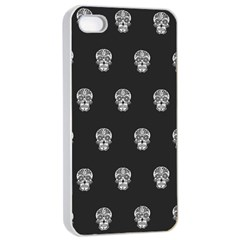 Skull Pattern Bw  Apple iPhone 4/4s Seamless Case (White)