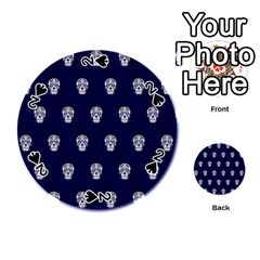 Skull Pattern Blue  Playing Cards 54 (round)