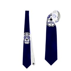 Skull Pattern Blue  Neckties (two Side)