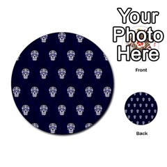 Skull Pattern Blue  Multi-purpose Cards (Round)