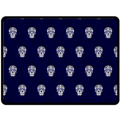 Skull Pattern Blue  Fleece Blanket (Large)