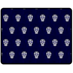 Skull Pattern Blue  Fleece Blanket (Medium)